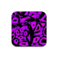 Purple design Rubber Coaster (Square)