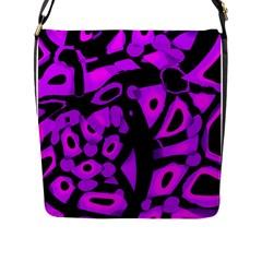 Purple Design Flap Messenger Bag (l)