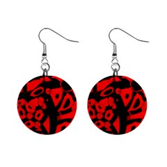 Red design Mini Button Earrings