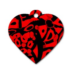 Red design Dog Tag Heart (One Side)