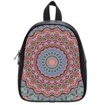 Abstract Painting Mandala Salmon Blue Green School Bags (Small)  Front