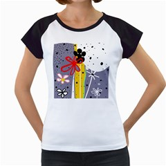 Flowers Women s Cap Sleeve T