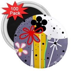 Flowers 3  Magnets (100 pack)