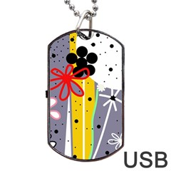 Flowers Dog Tag USB Flash (One Side)