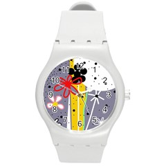 Flowers Round Plastic Sport Watch (M)