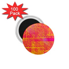 Yello And Magenta Lace Texture 1 75  Magnets (100 Pack)