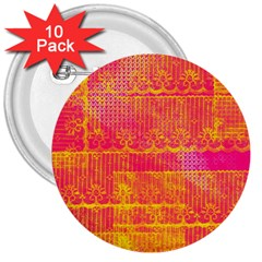 Yello And Magenta Lace Texture 3  Buttons (10 Pack)