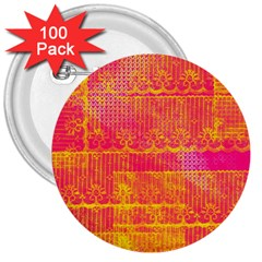 Yello And Magenta Lace Texture 3  Buttons (100 Pack)