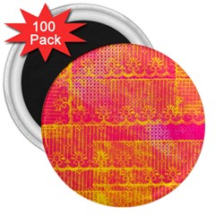 Yello And Magenta Lace Texture 3  Magnets (100 Pack)
