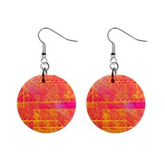 Yello And Magenta Lace Texture Mini Button Earrings