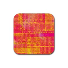 Yello And Magenta Lace Texture Rubber Square Coaster (4 Pack)