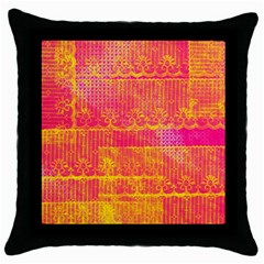 Yello And Magenta Lace Texture Throw Pillow Case (black)
