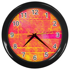 Yello And Magenta Lace Texture Wall Clocks (black)