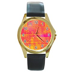Yello And Magenta Lace Texture Round Gold Metal Watch