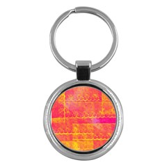 Yello And Magenta Lace Texture Key Chains (round)