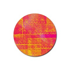 Yello And Magenta Lace Texture Rubber Round Coaster (4 Pack)