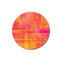 Yello And Magenta Lace Texture Magnet 3  (round)