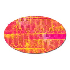 Yello And Magenta Lace Texture Oval Magnet