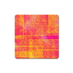 Yello And Magenta Lace Texture Square Magnet