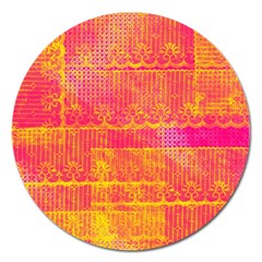 Yello And Magenta Lace Texture Magnet 5  (round)
