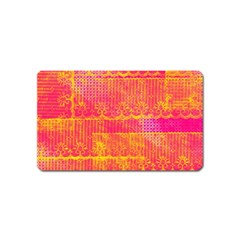 Yello And Magenta Lace Texture Magnet (name Card)
