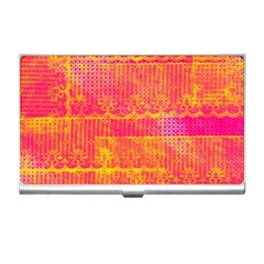 Yello And Magenta Lace Texture Business Card Holders