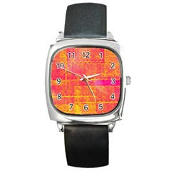 Yello And Magenta Lace Texture Square Metal Watch