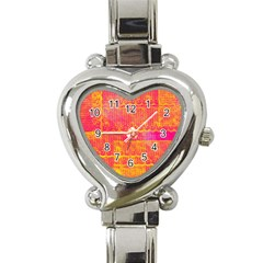 Yello And Magenta Lace Texture Heart Italian Charm Watch