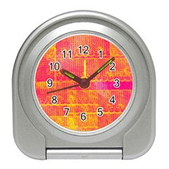 Yello And Magenta Lace Texture Travel Alarm Clocks