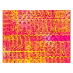 Yello And Magenta Lace Texture Rectangular Jigsaw Puzzl