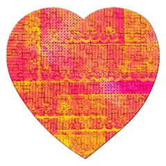 Yello And Magenta Lace Texture Jigsaw Puzzle (heart)