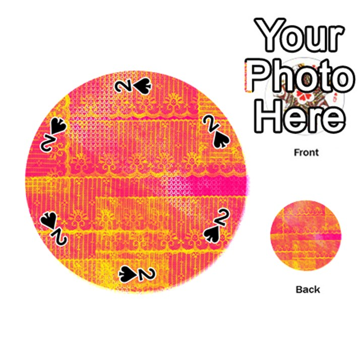 Yello And Magenta Lace Texture Playing Cards 54 (Round)