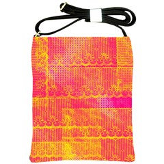 Yello And Magenta Lace Texture Shoulder Sling Bags