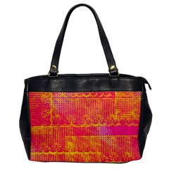 Yello And Magenta Lace Texture Office Handbags