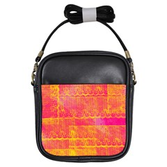 Yello And Magenta Lace Texture Girls Sling Bags