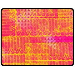 Yello And Magenta Lace Texture Fleece Blanket (medium)