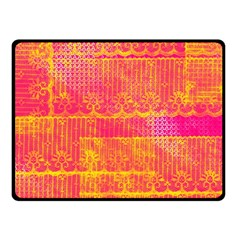 Yello And Magenta Lace Texture Fleece Blanket (small)