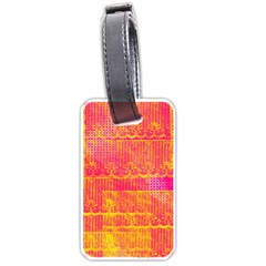 Yello And Magenta Lace Texture Luggage Tags (two Sides)