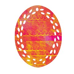 Yello And Magenta Lace Texture Ornament (oval Filigree)