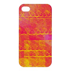 Yello And Magenta Lace Texture Apple Iphone 4/4s Hardshell Case
