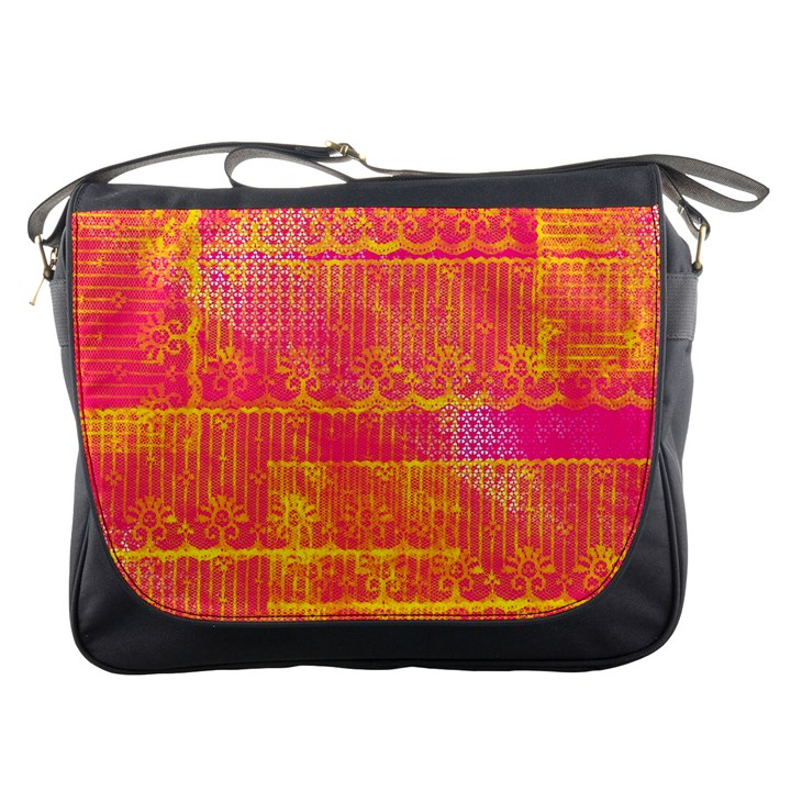 Yello And Magenta Lace Texture Messenger Bags