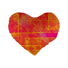 Yello And Magenta Lace Texture Standard 16  Premium Heart Shape Cushions