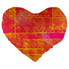 Yello And Magenta Lace Texture Large 19  Premium Heart Shape Cushions