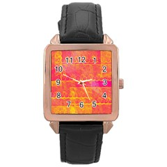 Yello And Magenta Lace Texture Rose Gold Leather Watch