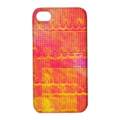 Yello And Magenta Lace Texture Apple Iphone 4/4s Hardshell Case With Stand