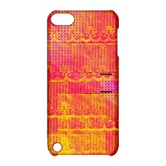 Yello And Magenta Lace Texture Apple Ipod Touch 5 Hardshell Case With Stand