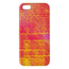 Yello And Magenta Lace Texture Apple Iphone 5 Premium Hardshell Case