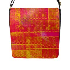Yello And Magenta Lace Texture Flap Messenger Bag (l)