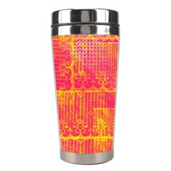 Yello And Magenta Lace Texture Stainless Steel Travel Tumblers
