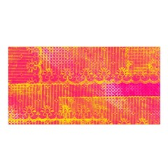 Yello And Magenta Lace Texture Satin Shawl